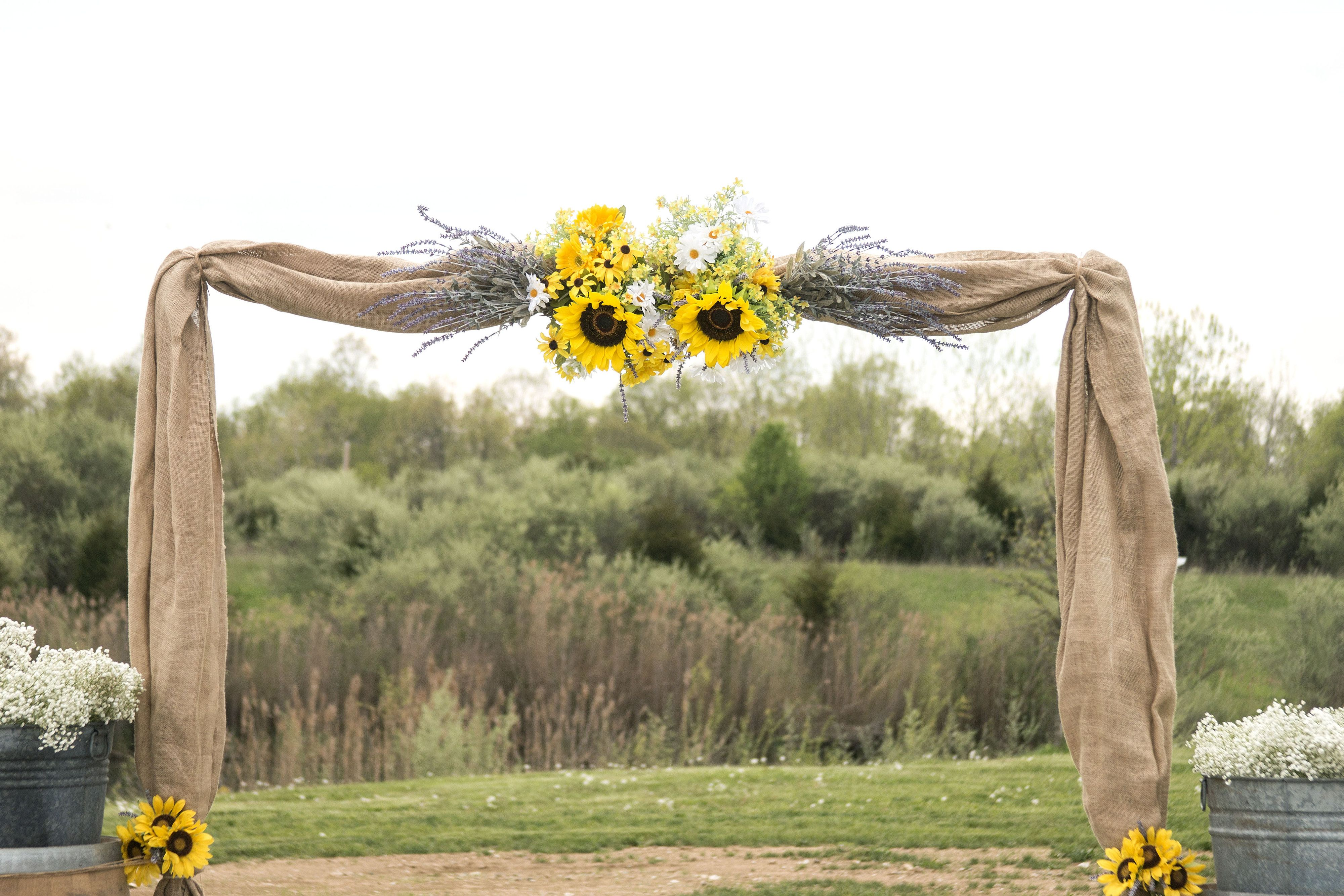 Rustic Outdoor Wedding Arbor With Burlap Sunflowers And Navy At