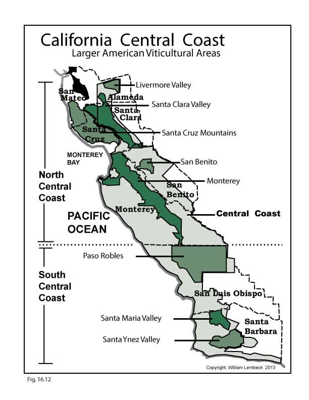 Map Of California Central Valley.Us Ca Central Coast Wine Map Swe Wine In The Making