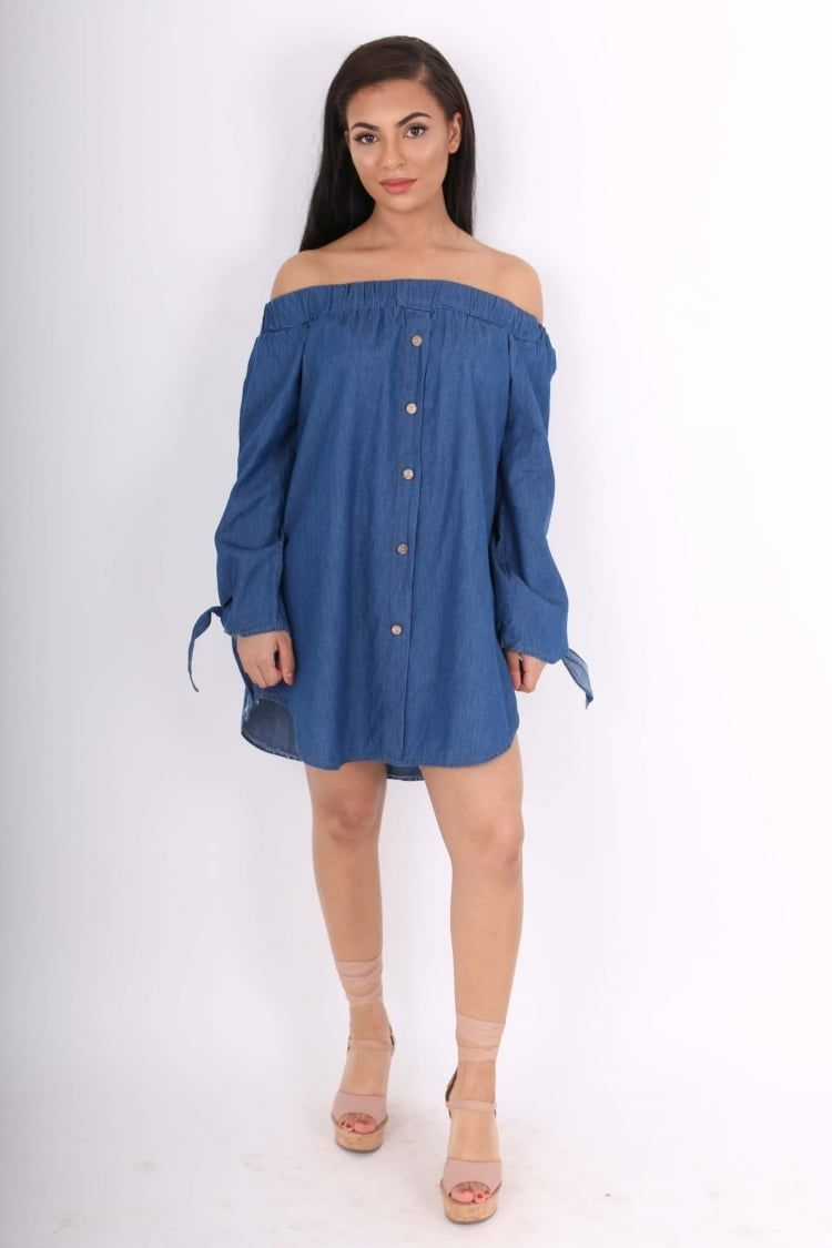 8d32cfe47c7cb0 Una Dark Denim Bardot Shirt Dress With Tie Sleeves - Clothing from Dollywood  Boutique UK