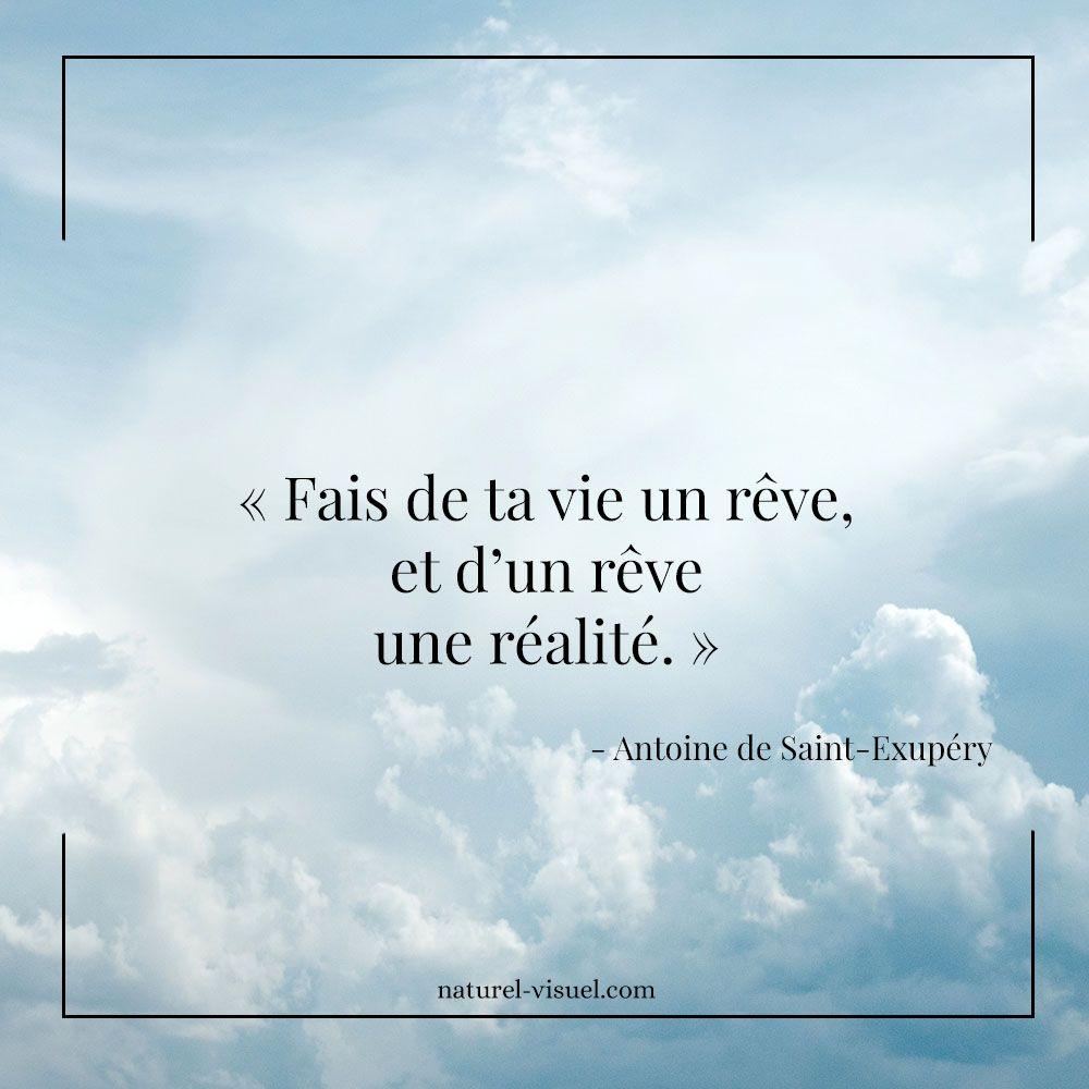 Citation Inspirante Fais De Ta Vie Un Reve Et D Un Reve Une Realite Saint Exupery Citation Citationinspirante Citation Citation Pensee Paroles De Sagesse