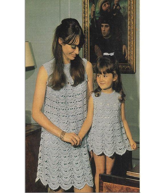 Crochet DRESS Pattern Vintage 70s Crochet Mom and Daughter Dresses ...