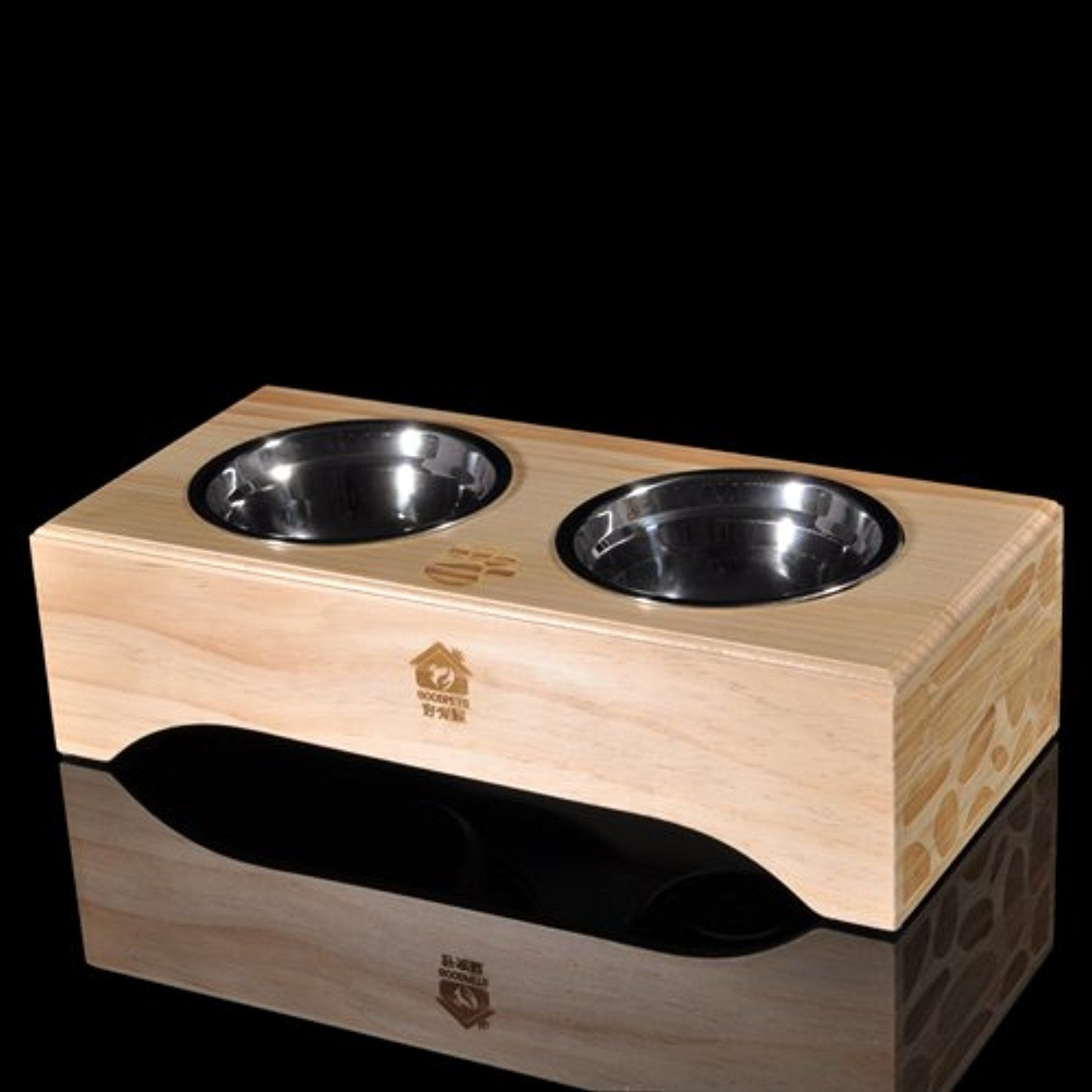 Premium Elevated Dog And Cat Wood Diner Pet Feeder Food Bowls Raised Stand Wooden Dining Table Platform Feeding Station With Two Double Stainless Steel