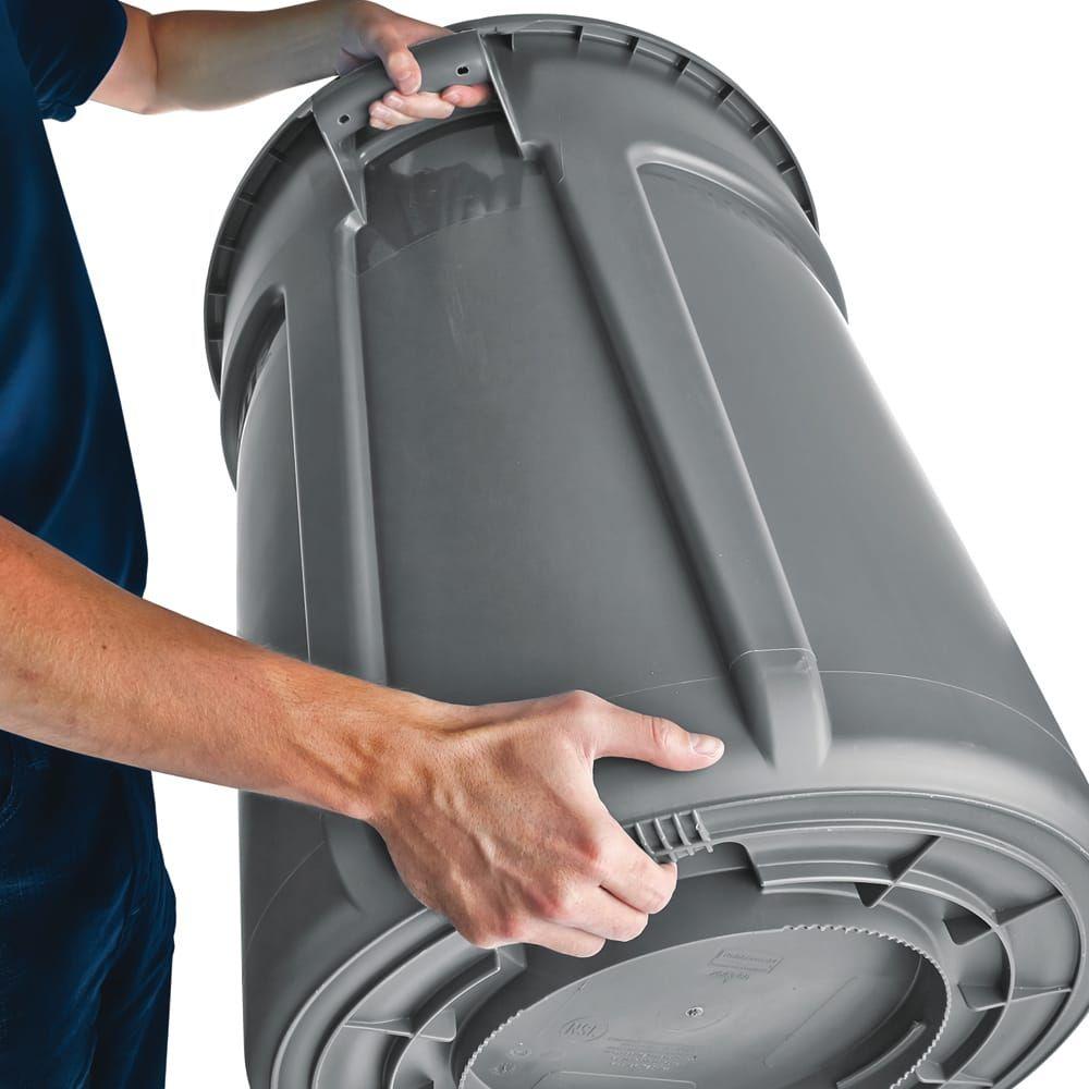 Rubbermaid Fg261000gray 10 Gallon Brute Trash Can Plastic Round Food Rated Rubbermaid Trash Can Trash Containers