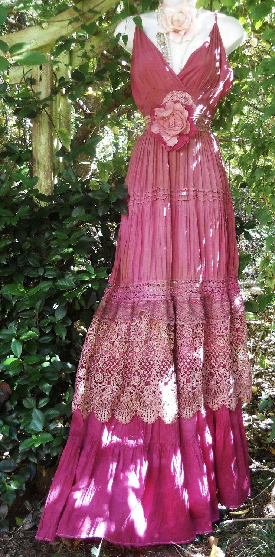 Pink maxi dress boho plum crochet cotton lace silk tiered bohemian rose medium by vintage opulence on Etsy. $155.00, via Etsy.