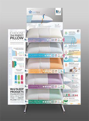 Blue Sleep pillow display   Bed linens