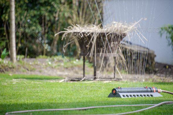 Lawn Sprinkler Irrigates Rural Garden Http Photodune Net Item Lawn Sprinkler 4782906 Lawn Sprinklers Sprinkler Oscillating Sprinkler
