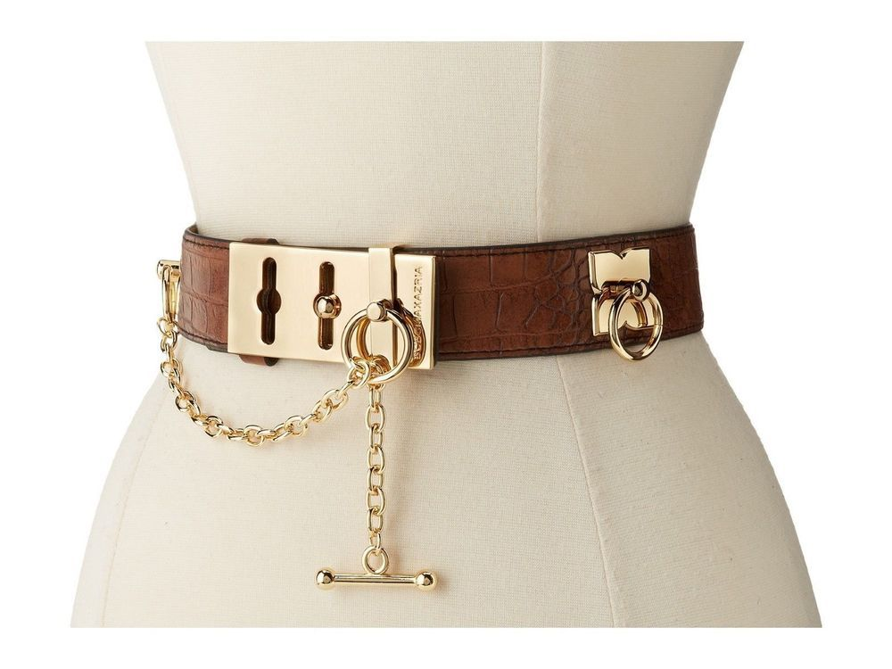 16c36c8e9 New BCBGMAXAZRIA BCBG Belt Taupe Brown Faux Leather Toggle Chain Womens  Medium  BCBGMAXAZRIA