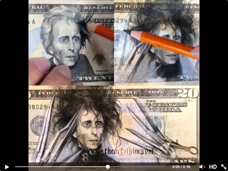 Edward Scissorhands 20 Dollar Bill Tami Warrington Another Good One For You Art Edward Scissorhands Edward Scissor