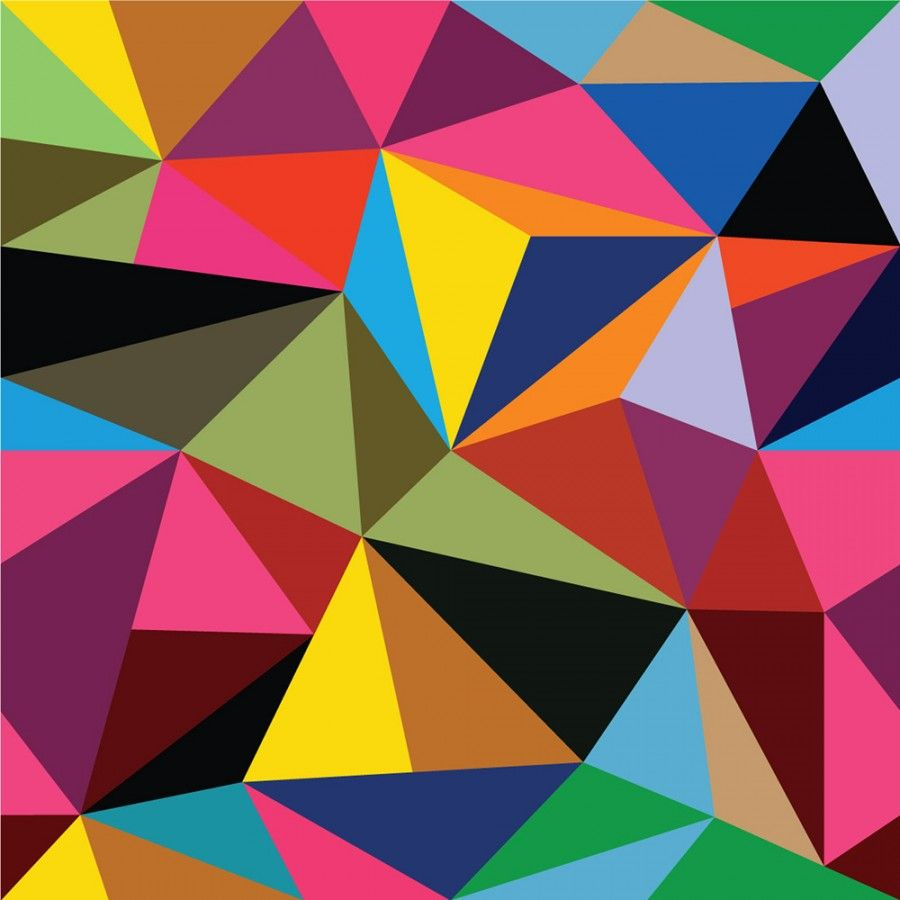 Multi coloured geometric triangles pattern wall mural for Colocar papel mural