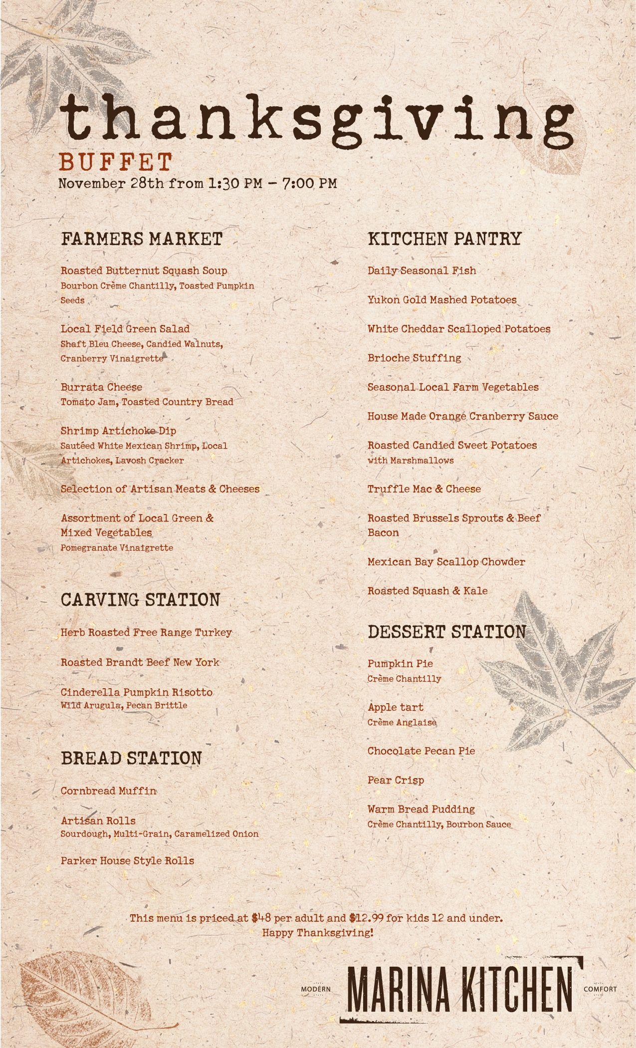 Our Seasonal Thanksgiving Buffet Menu At Marina Kitchen Restaurant