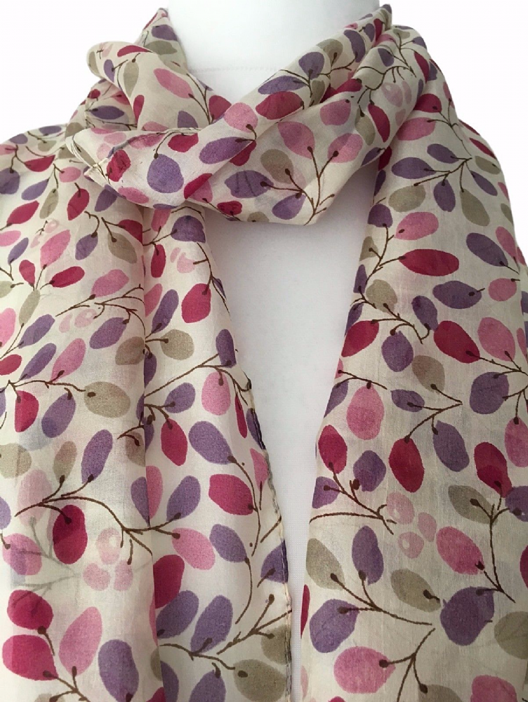 66c740513b278 100 pure silk scarf cream with a pink and purple abstract style floral  print light weight and soft the perfect fashion accessory and an affordable