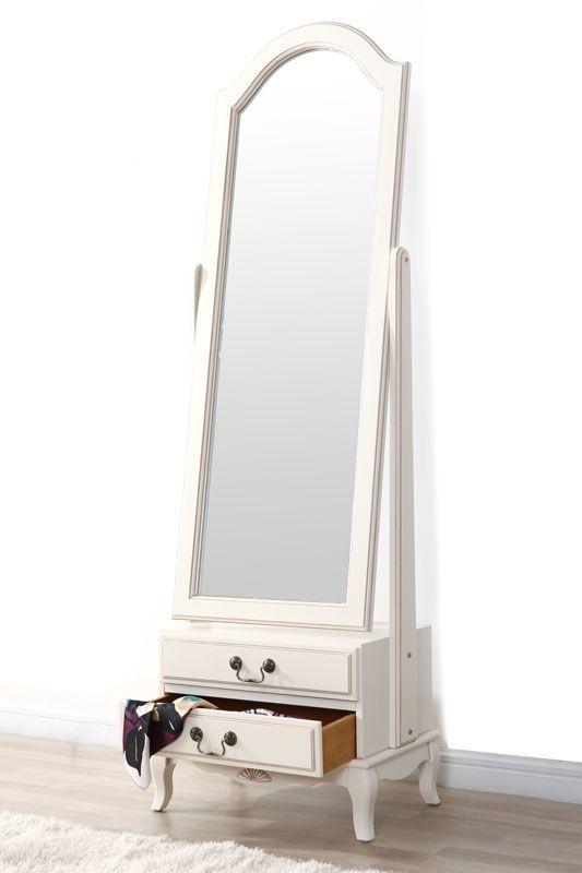 Miroir psyché baroque bois blanc BIANCA - Zoom   chambre ...