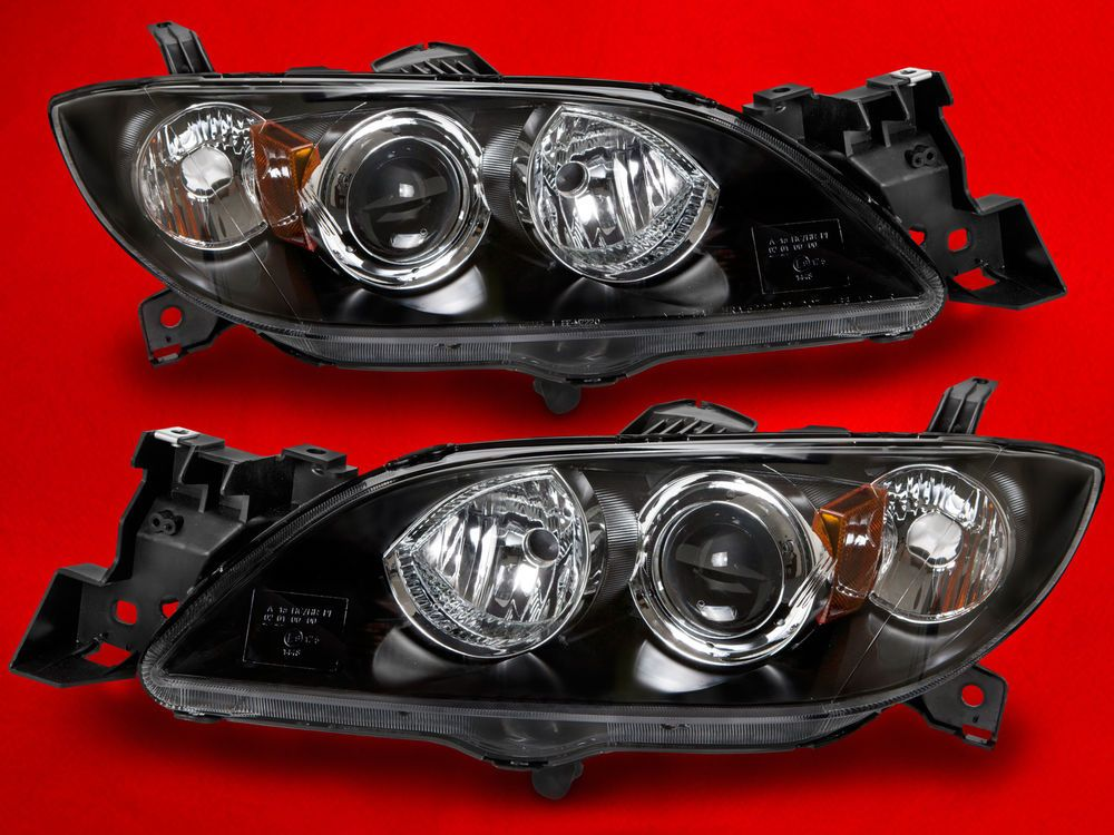 Headlights Headlamps Fits 04 09 Mazda 3 4 Door Sedan Pair Set Halogen New Mazda Halogen Headlights Mazda 3 Sedan