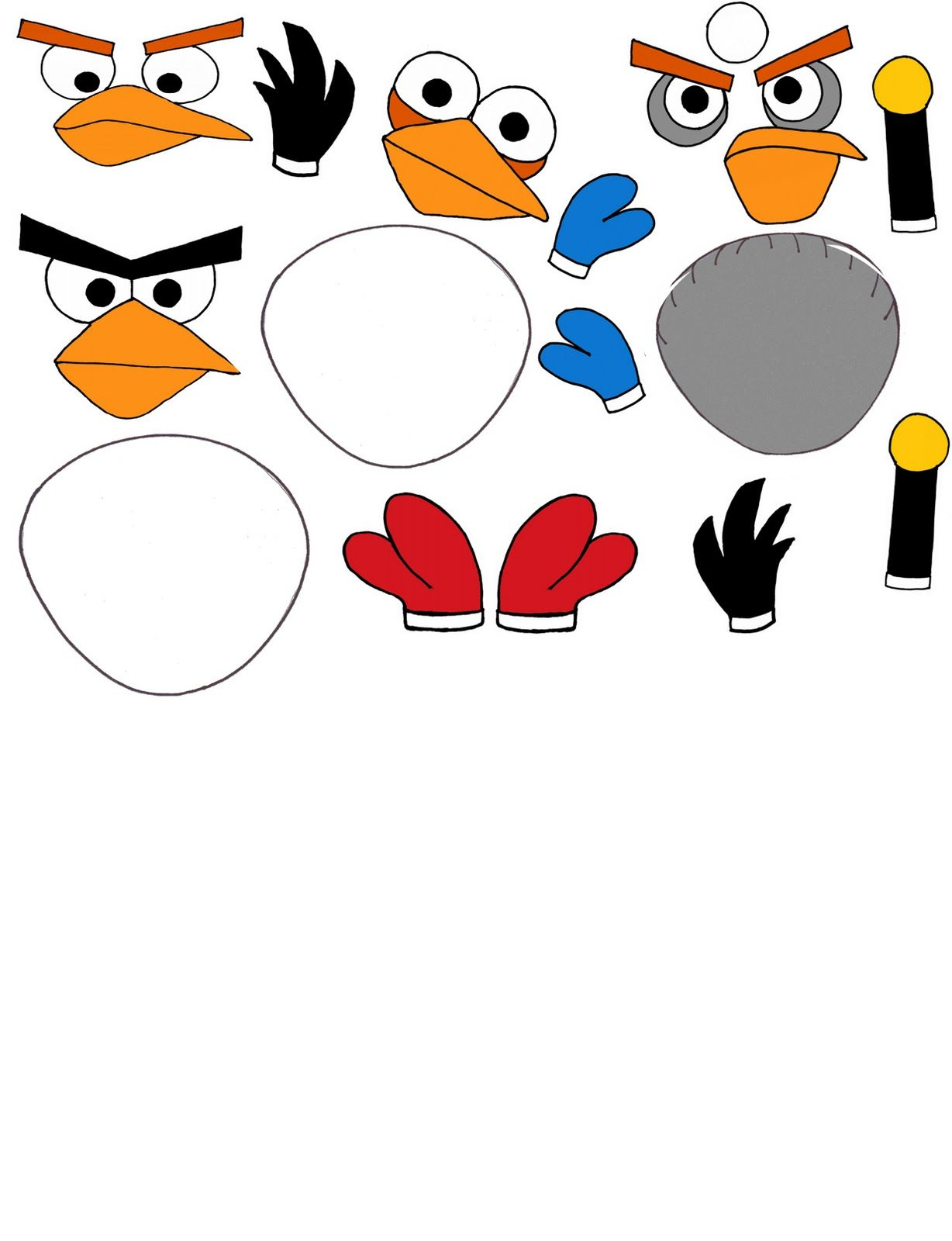 angry birds template cut outs angry bird printables