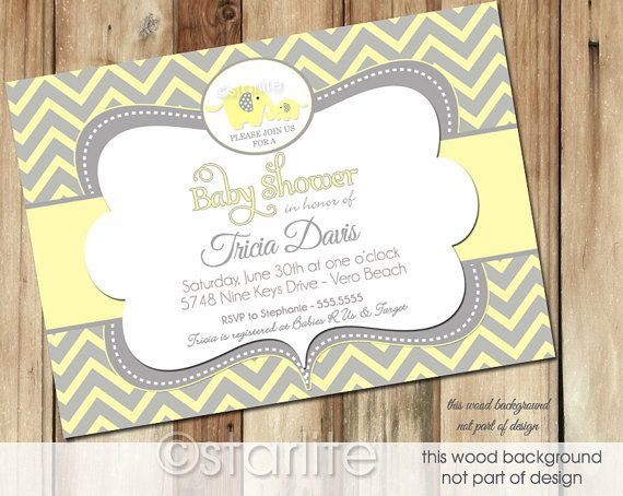 elephant baby shower invitation yellow and gray grey by starwedd,