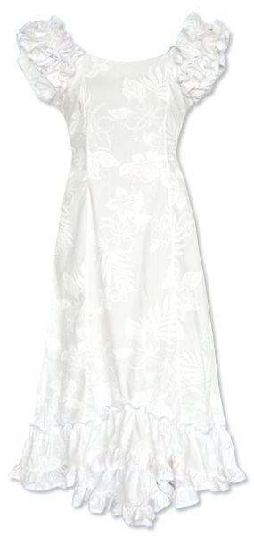 Lanikai white hawaiian meaaloha muumuu dress with sleeves for Hawaiian wedding dresses with sleeves