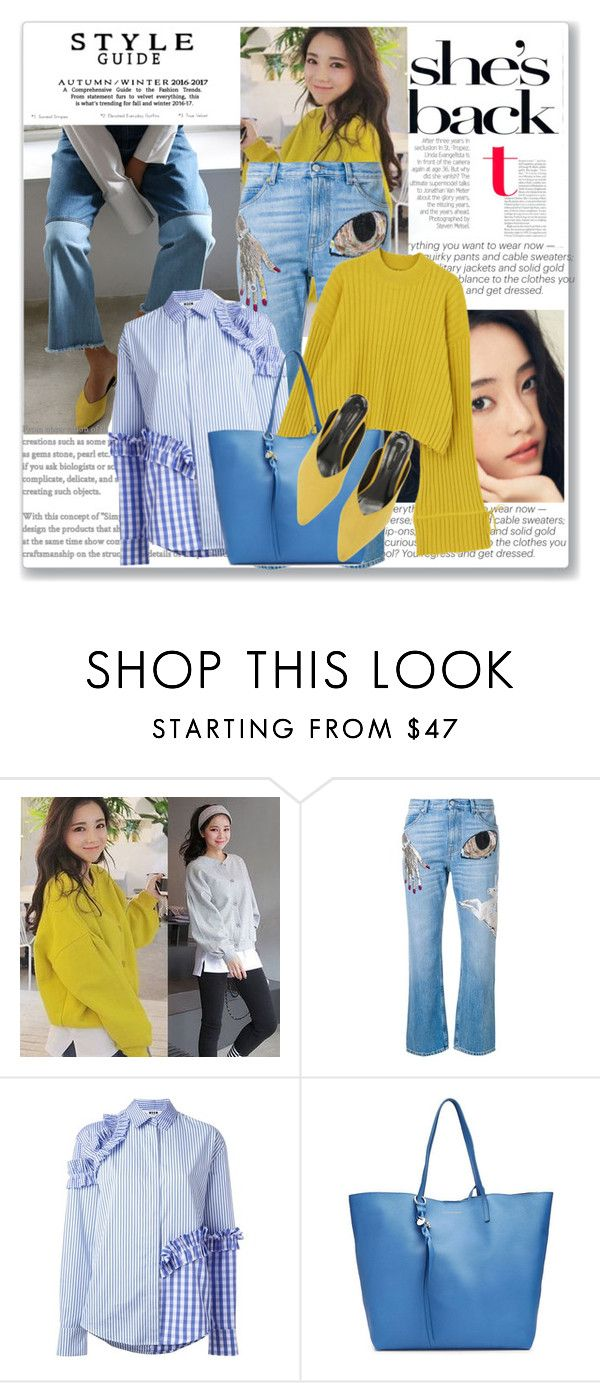 """""""Spring colors - yellow and blue"""" by lidia-solymosi ❤ liked on Polyvore featuring Péro, Alexander McQueen and MSGM"""