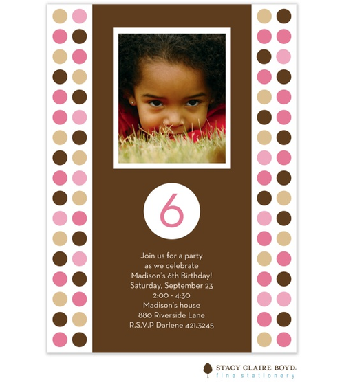 This Polka Dot Party party invitation features a center section of rich chocolate, off set on either side by our bold circle graphic design in shades of pink and brown.