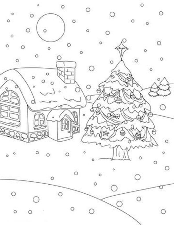 Christmas Tree On Snow At Christmas Night Christmas Coloring Page