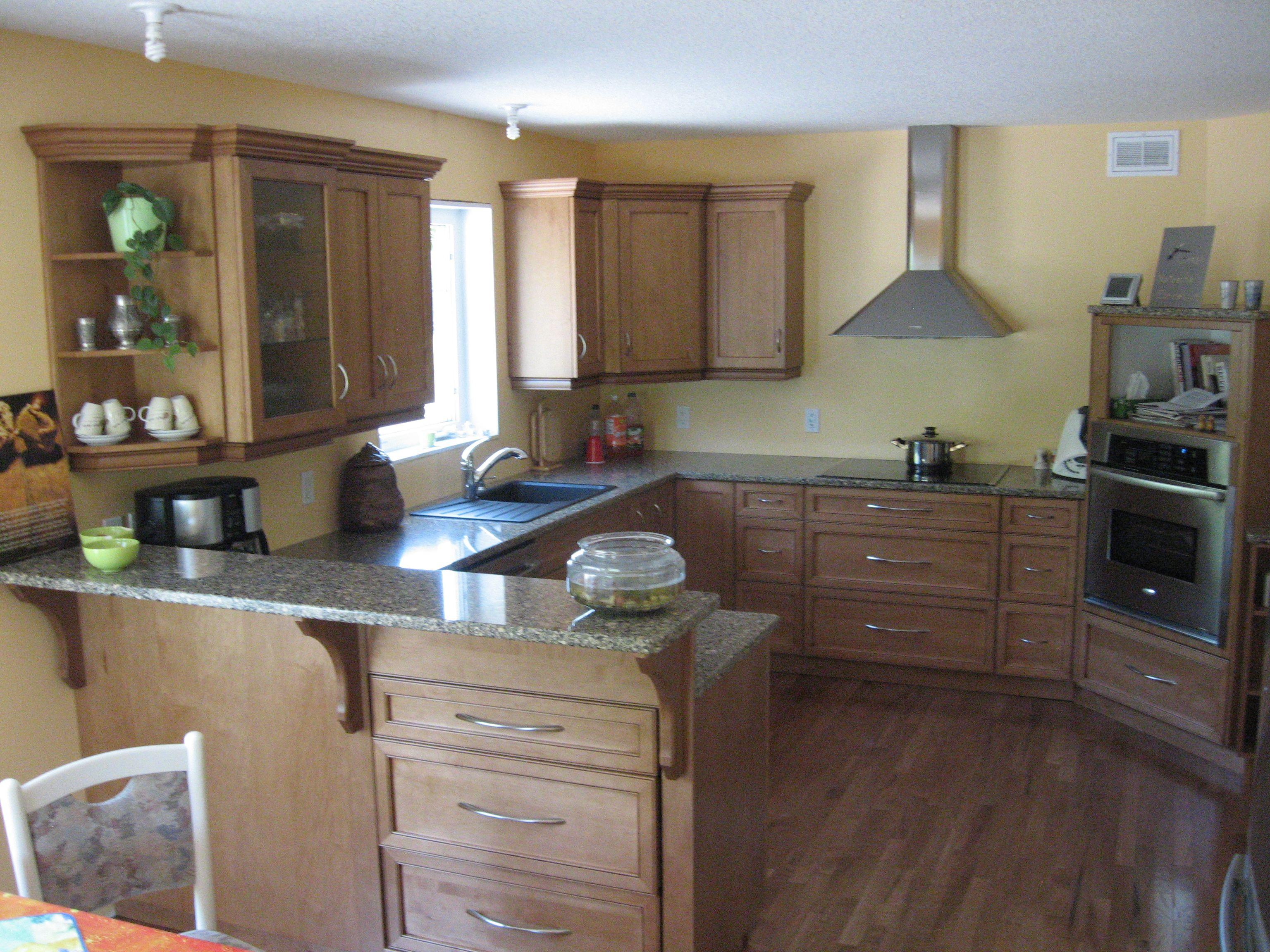 Cabinets: Maple - Wheatfield with Black Glaze / Countertop ... on Maple Kitchen Cabinets With Quartz Countertops  id=28850