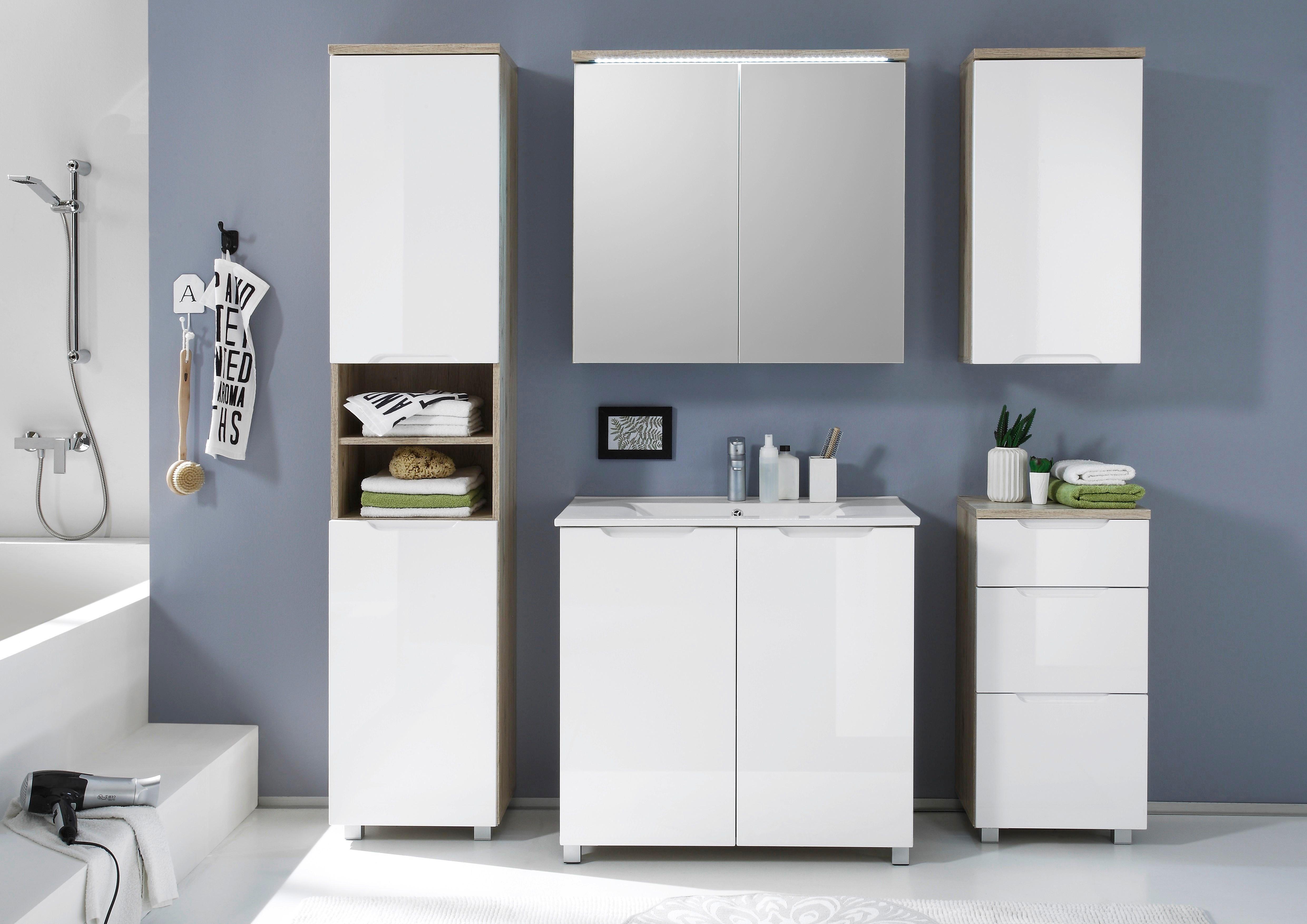 Badezimmer Set 5 Teilig Weiss Eichefarben Kaufen Badezimmer Set Badezimmer Hangeschrank