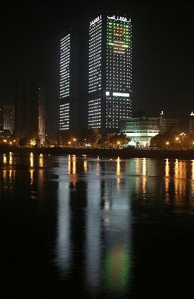 Twin Towers over river Nile