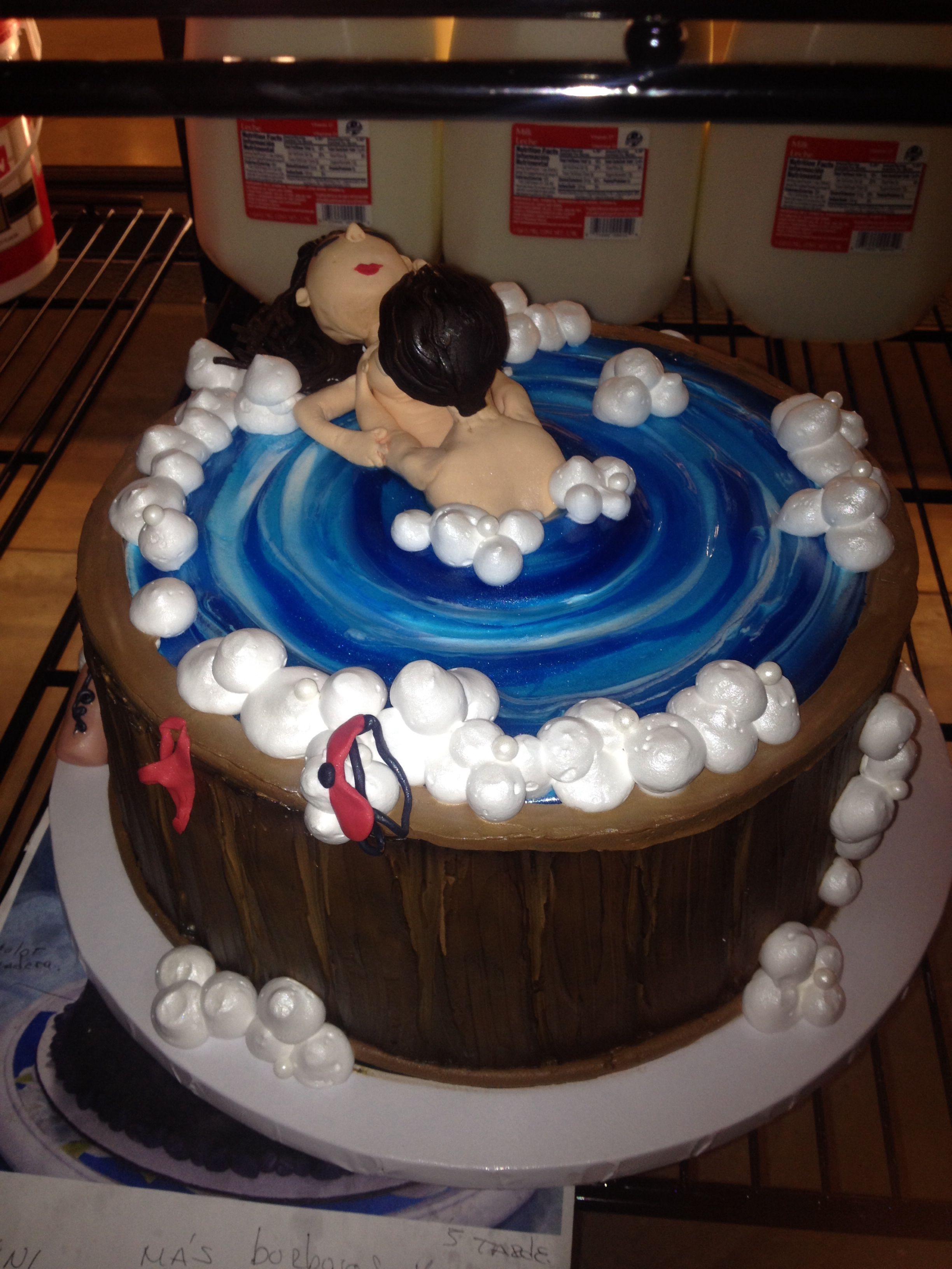 Hot Tub Cake With The Man And A Woman Steaming It Up Just