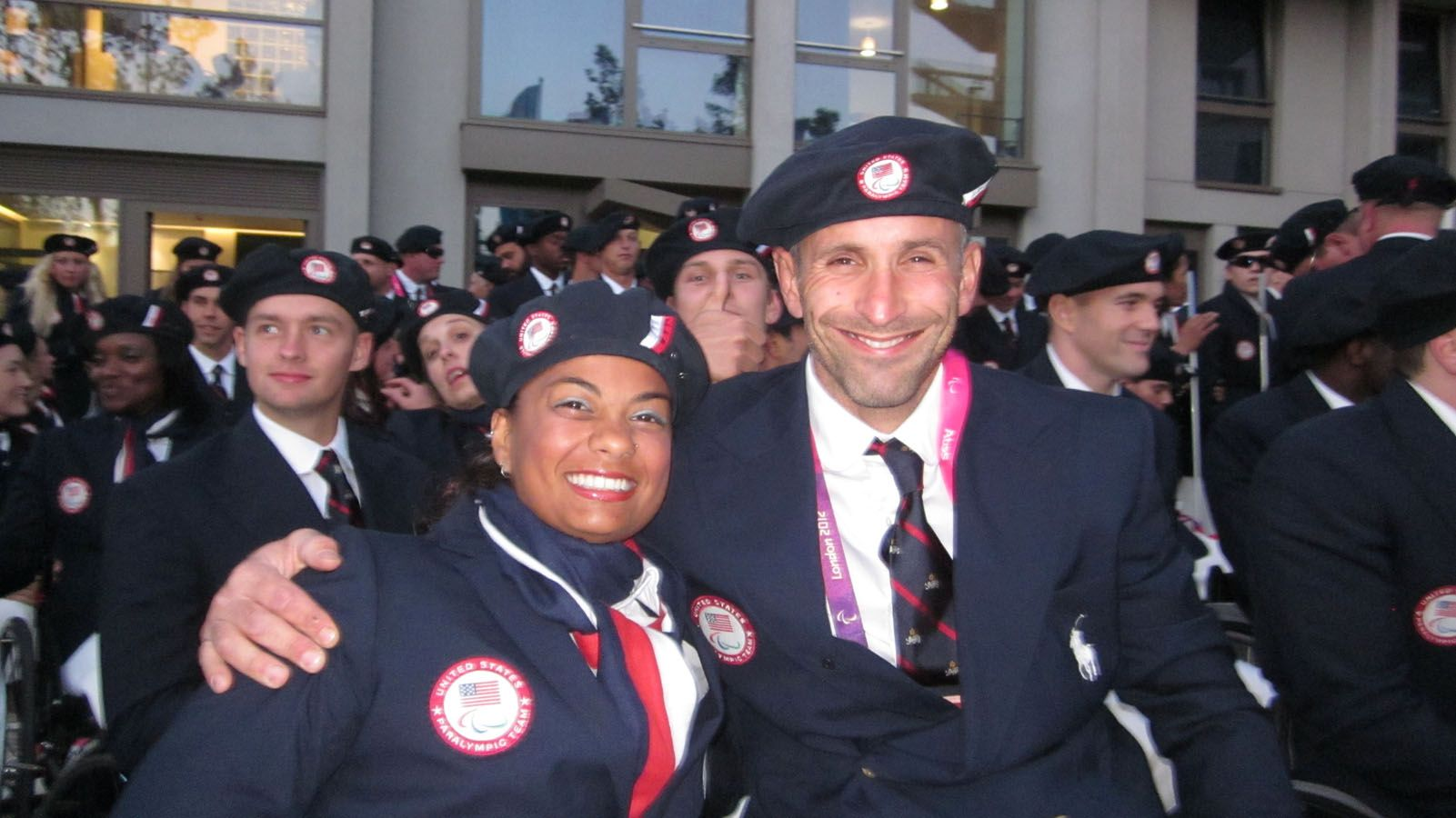 Anjali Forber-Pratt (Phd '12 Ed; MS '07 AHS; BS '06 AHS) and Adam Bleakney (MS '02 Media/Commmunication; BA '00 LAS) at London 2012 Opening Ceremony