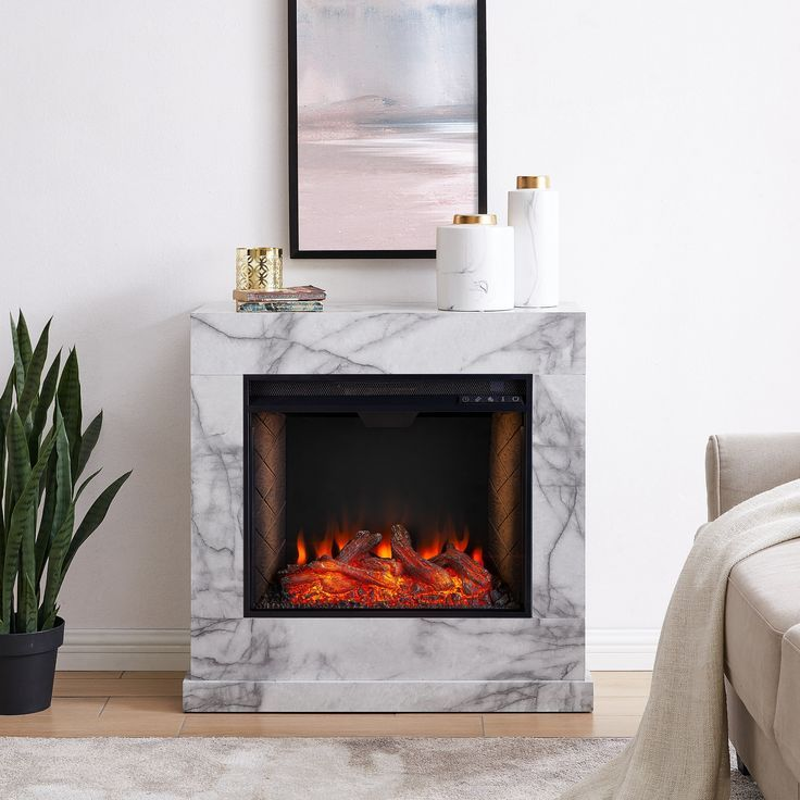 Harper Blvd Dejon Contemporary White Alexa Enabled Stone Fireplace GrayGlass