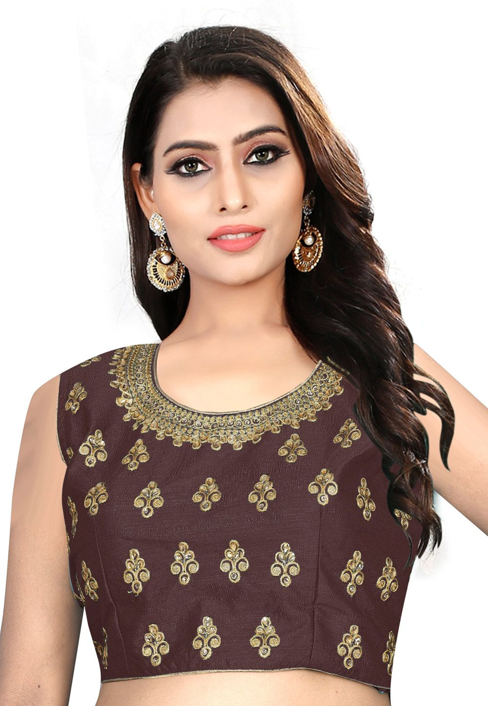 1e55334f5b16f1 Buy Brown Silk Readymade Blouse 163421 online at lowest price from vast  collection at Indianclothstore.com.