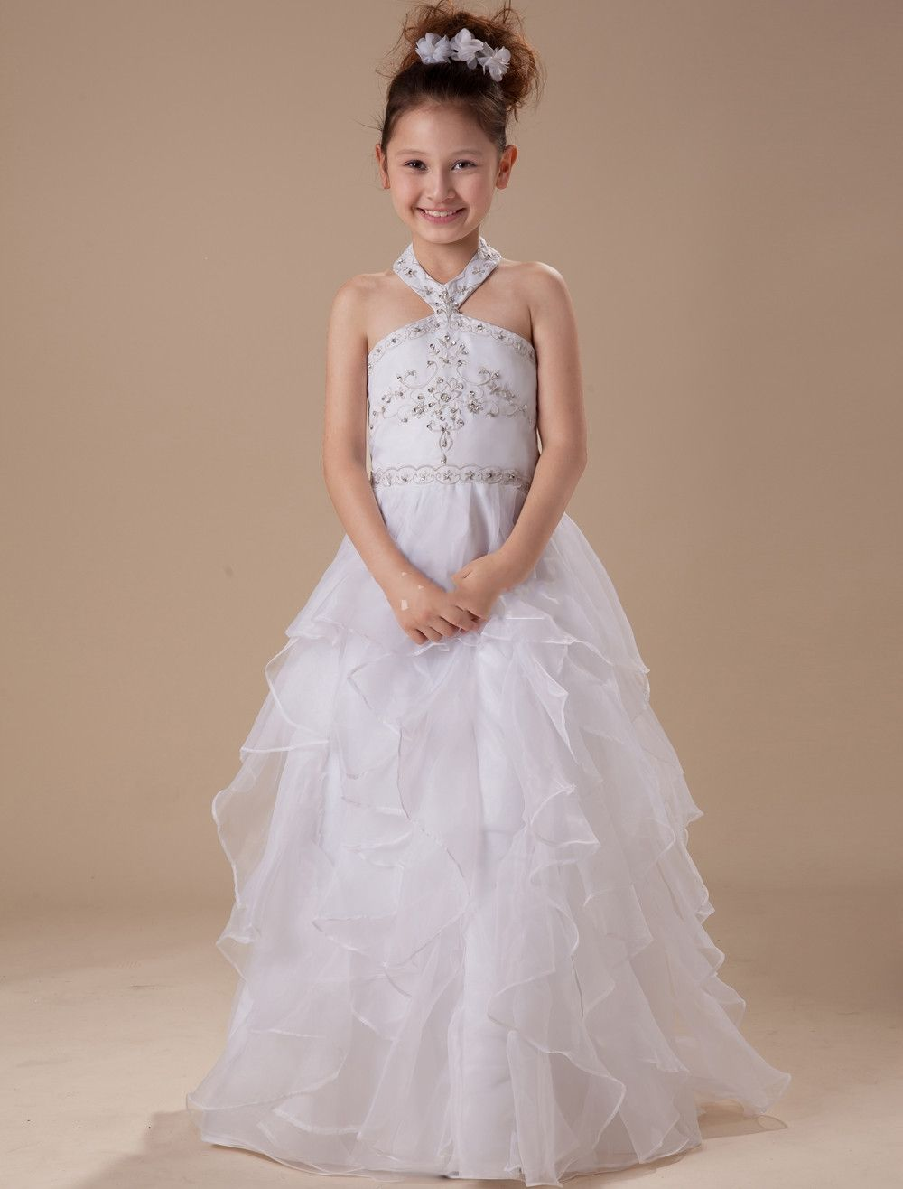 Hater organza satin white kid dresses for wedding flower girl