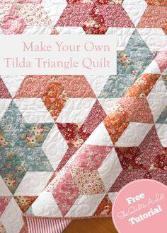Tilda Triangle Quilt FREE Tutorial at She Quilts A Lot