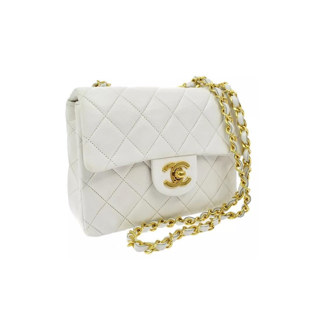 782f7affeb6 Chanel small white crossbody bag lambskin with god hardware excellent  vintage condition with dustbag measures 7