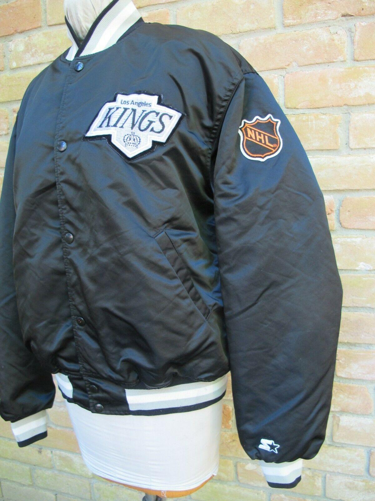 Vintage Starter Black Satin Nhl Jacket Los Angeles Kings Hockey Gretzky Era Xl Ebay Jackets Satin Jackets Vintage Outfits