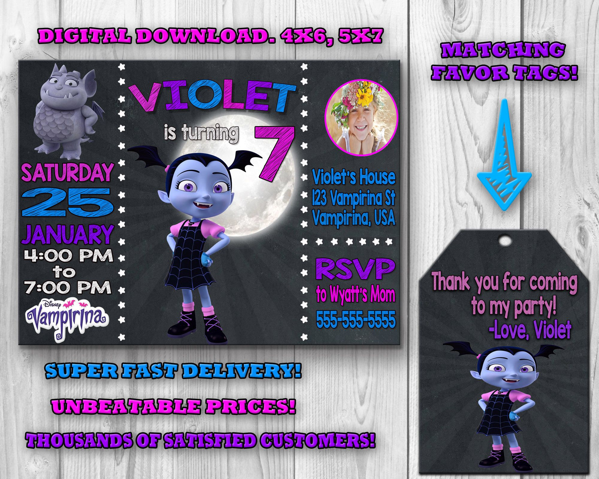 Vampirina Invitation, Vampirina Birthday Invitation, Vampirina Birthday  Party, Vampirina Invite, Vampirina Thank You, Printable