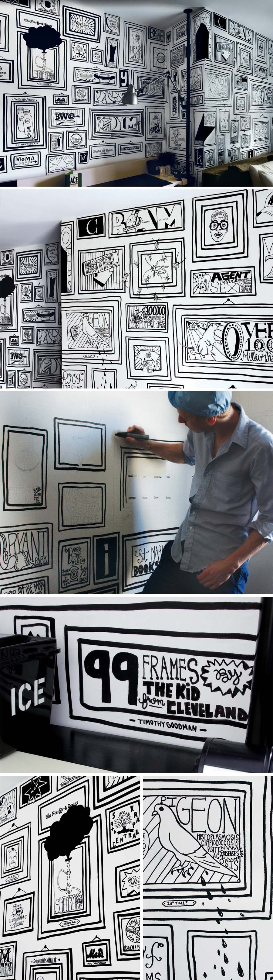 This a cool idea for art work in a space.  If it is a temporary space for you, cover walls with white butcher paper, then go to town drawing.