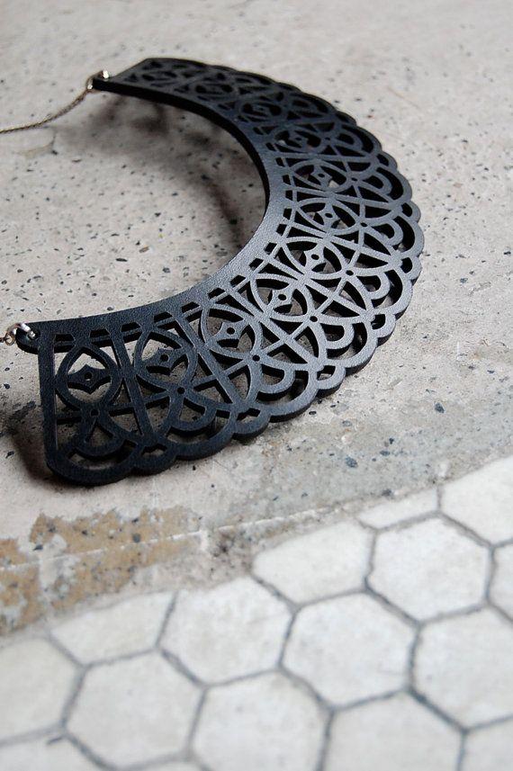 Black Leather laser-cut Bib Necklace
