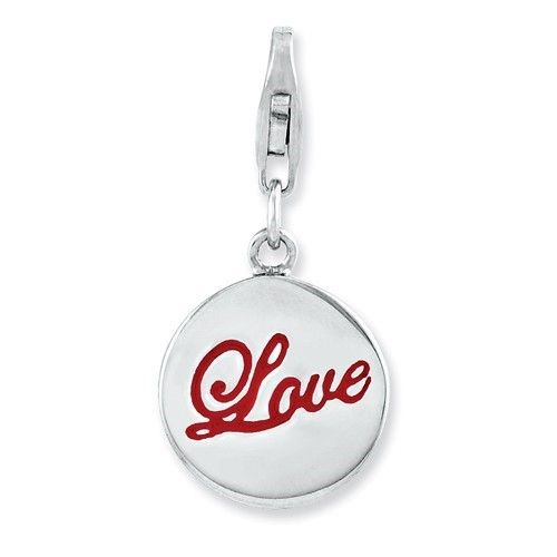 Sterling Silver Rhodium plated Enameled Love with Lobster Clasp Charm (0.5in), Women's