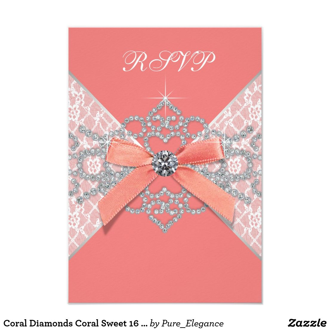 Coral Diamonds Sweet 16 Birthday Party RSVP Card Invitation Add Your Details To The Front And Back