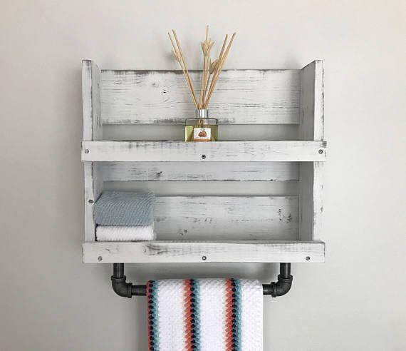 Bathroom Shelf With Towel Bar White Distressed Wood