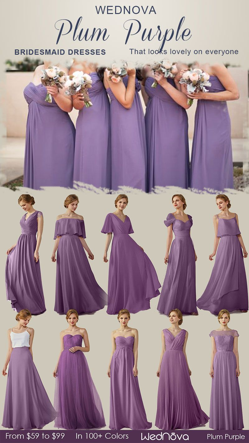 10 Chiffon Bridesmaid Dresses You Can Wear Again Plum Purple With Tulle Detail Dresses Affordable Plum Bridesmaid Dresses Bridesmaid Dresses Wedding Dresses