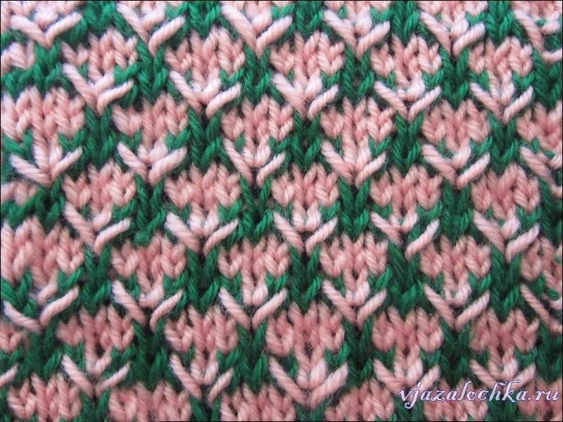 Двухцветный узор спицами «Колючки»