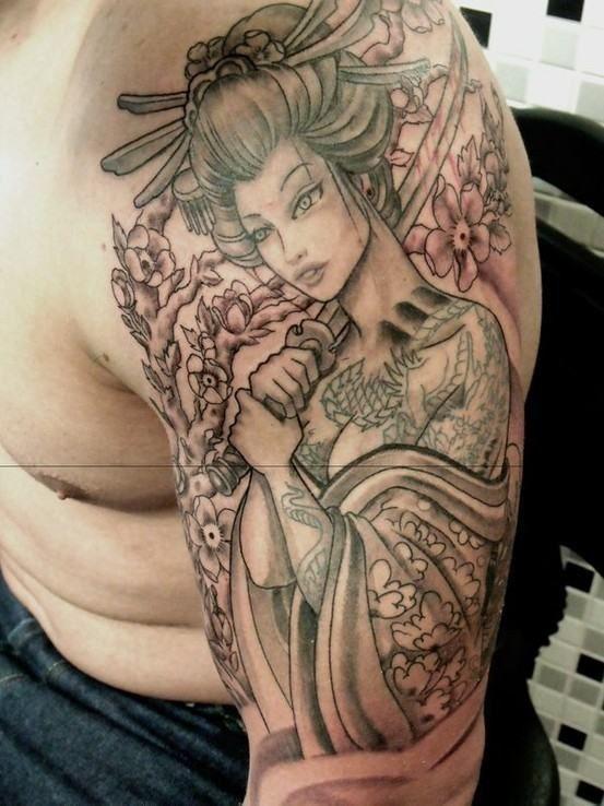 Tatuagem De Gueixa Sombreada No Braço Tattoos Gueixas