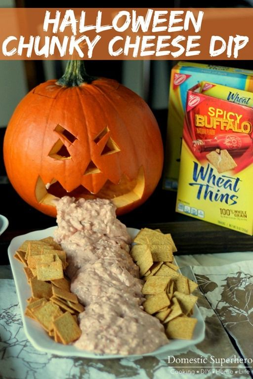 halloween chunky cheese dip with wheat thins chips veggies or