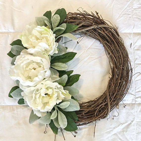 Photo of Peony wreath, wine wreath, spring wreath, summer wreath, front door wreath, peasant wreath, white wreath, mother's day wreath
