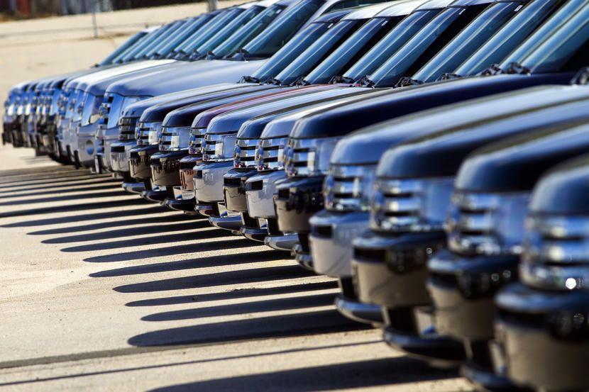 2011 Ford Motor Co. Flex sport utility vehicles (SUV) sit
