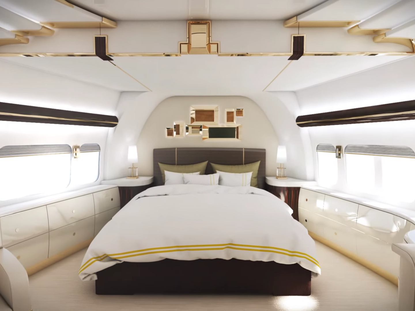 Private jet interior furnished like a vintage train aviation - Inside The Most Luxurious Private Jets Business Insider