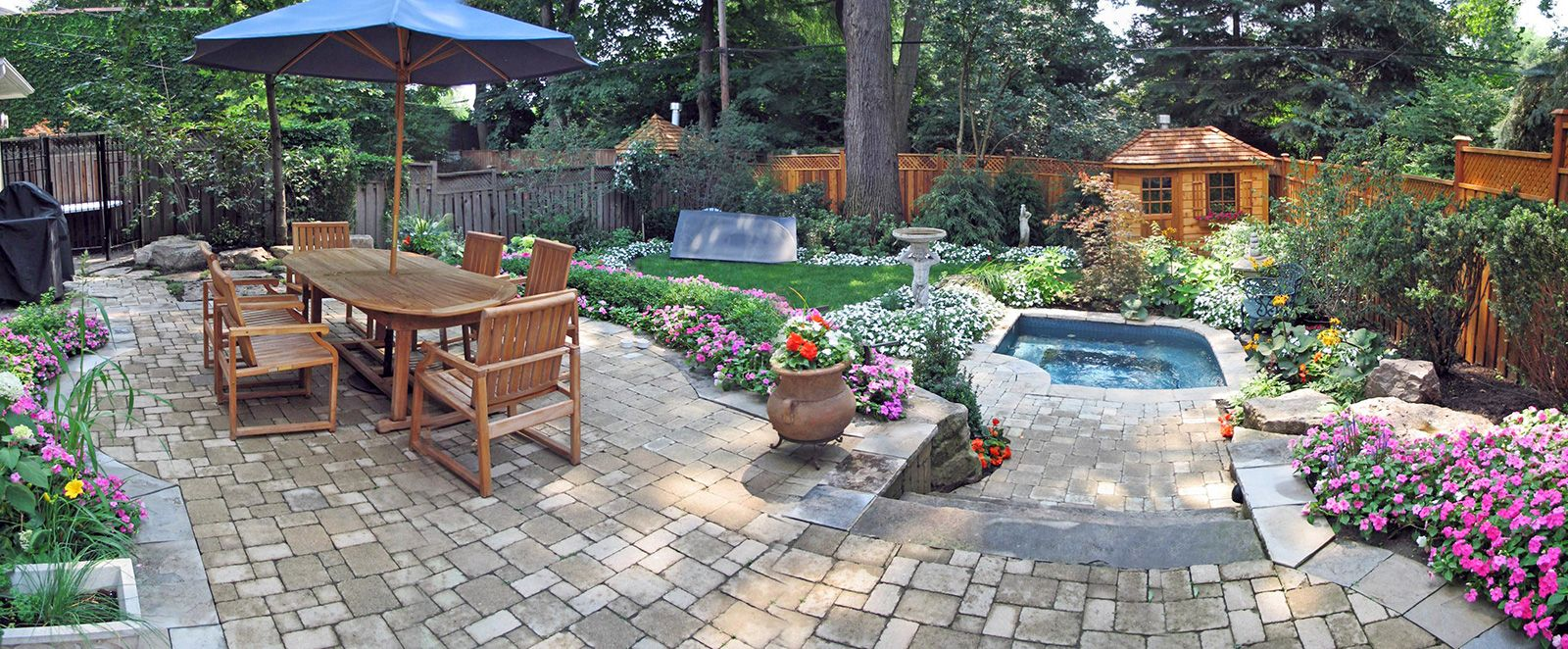 Sunken Hot Tub Deck Designs | stone patio with sunken in ground ...