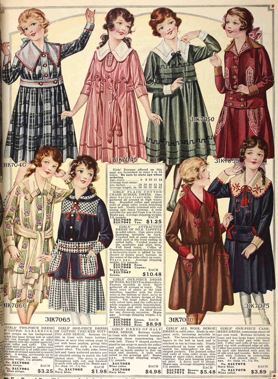 60ce7833c Wonderful girl's dresses from the Fall 1917 Sears catalog ...