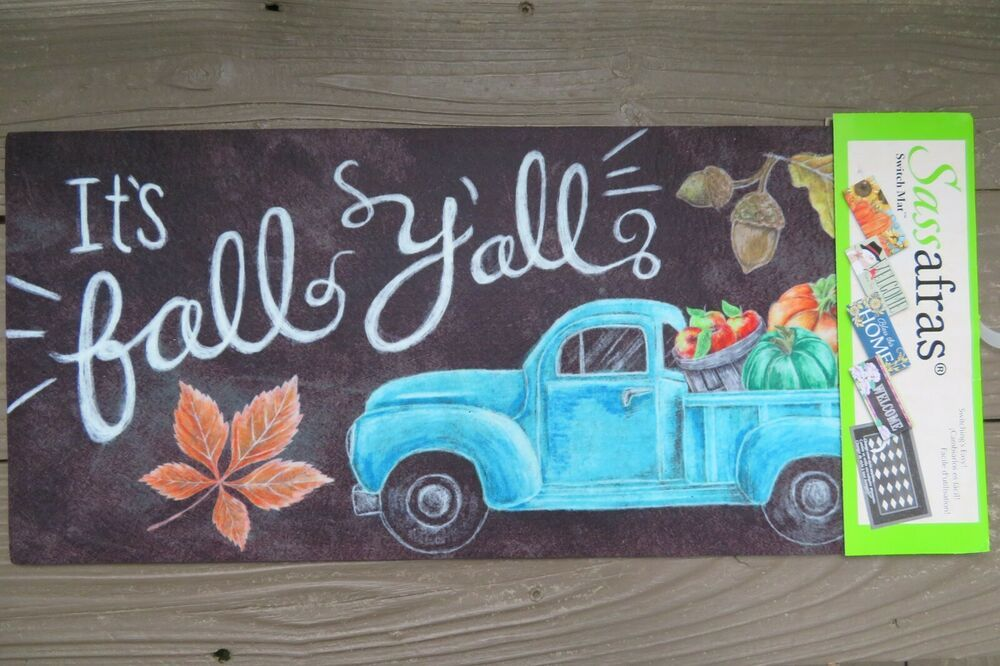 It S Fall Y All Blue Truck Autumn Sassafras Rug Insert Switch Door Mat 10x22 Sassafras Falltruck In 2020 Toy Chest Fall Decor